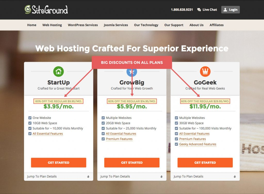 SiteGround web hosting plans