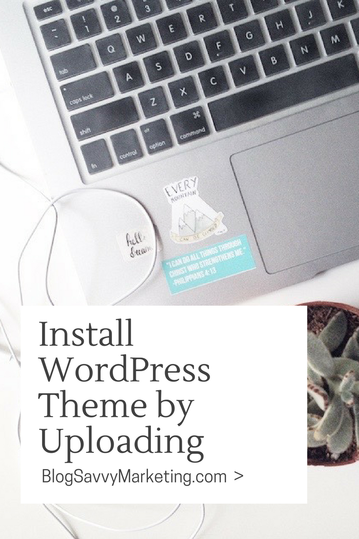 Steps to install a WordPress theme via uploading. Use the .zip file to upload to WordPress.