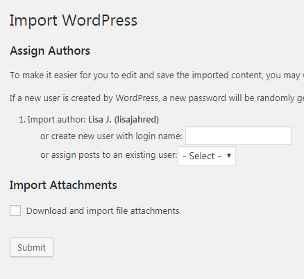 Import author name assignment