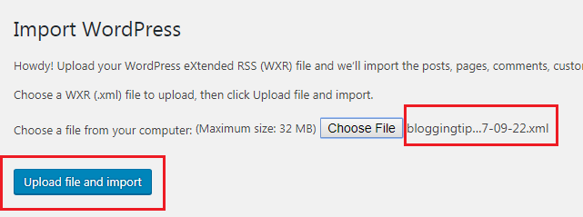 file name for import