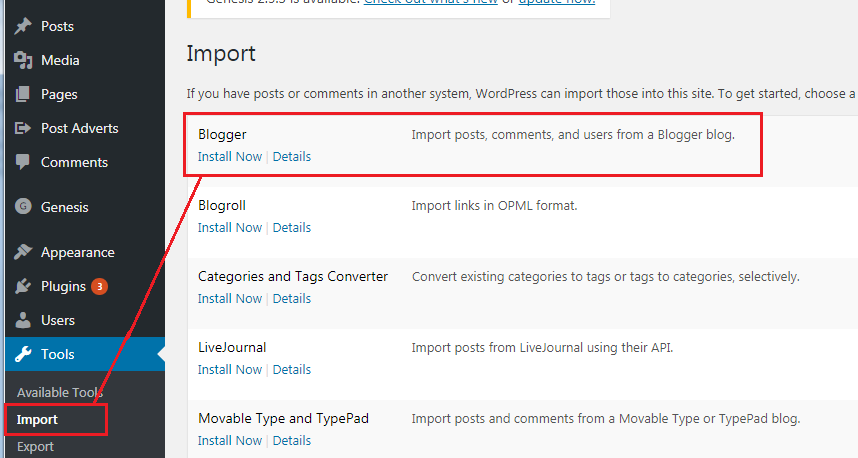 Install Blogger Import