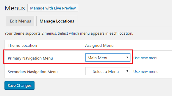 Assign a WordPress menu location