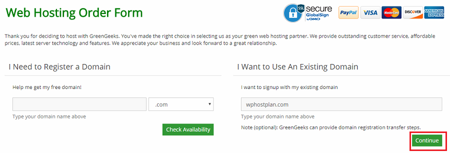 greengeeks choose domain name